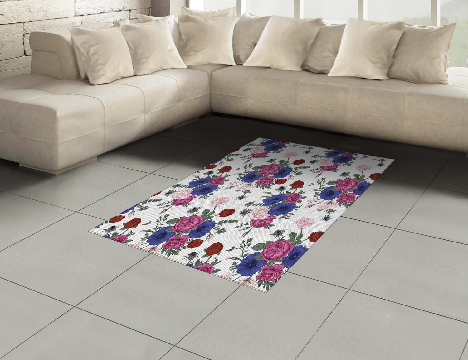 Anemone-Flower-Area-Rug-Decor-Flat-Woven-Accent-Rug-Home-Decor-2-Sizes-Ambesonne thumbnail 10
