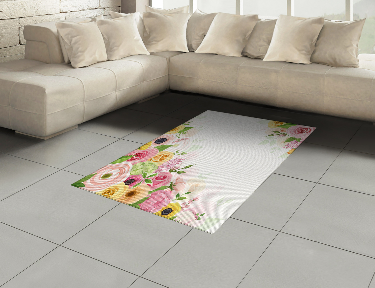 Anemone-Flower-Area-Rug-Decor-Flat-Woven-Accent-Rug-Home-Decor-2-Sizes-Ambesonne thumbnail 24