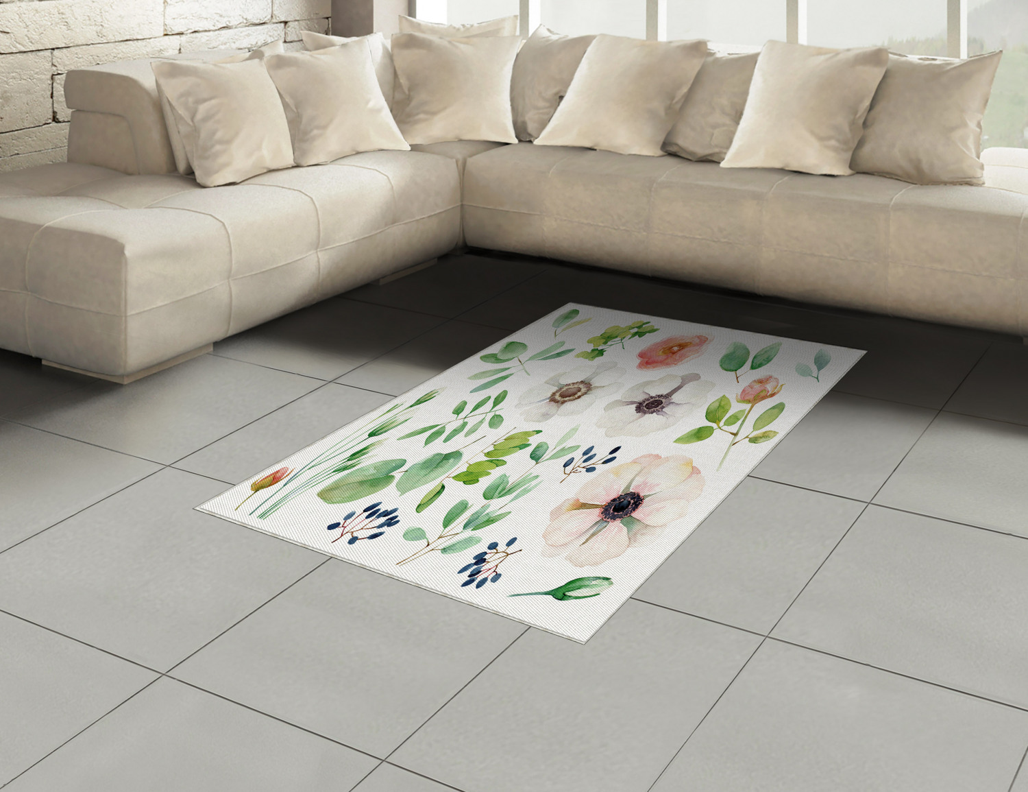 Anemone-Flower-Area-Rug-Decor-Flat-Woven-Accent-Rug-Home-Decor-2-Sizes-Ambesonne thumbnail 20