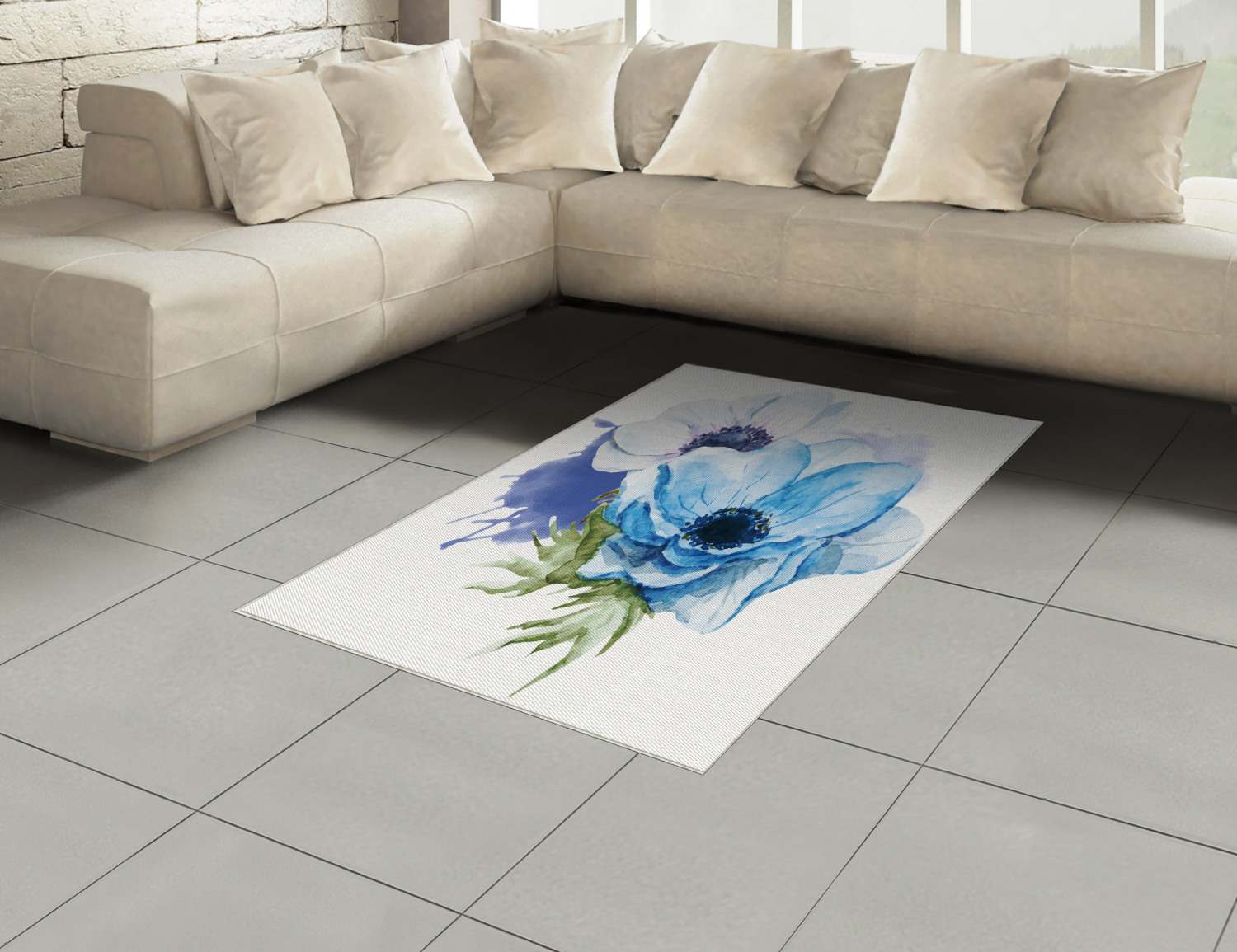 Anemone-Flower-Area-Rug-Decor-Flat-Woven-Accent-Rug-Home-Decor-2-Sizes-Ambesonne thumbnail 42