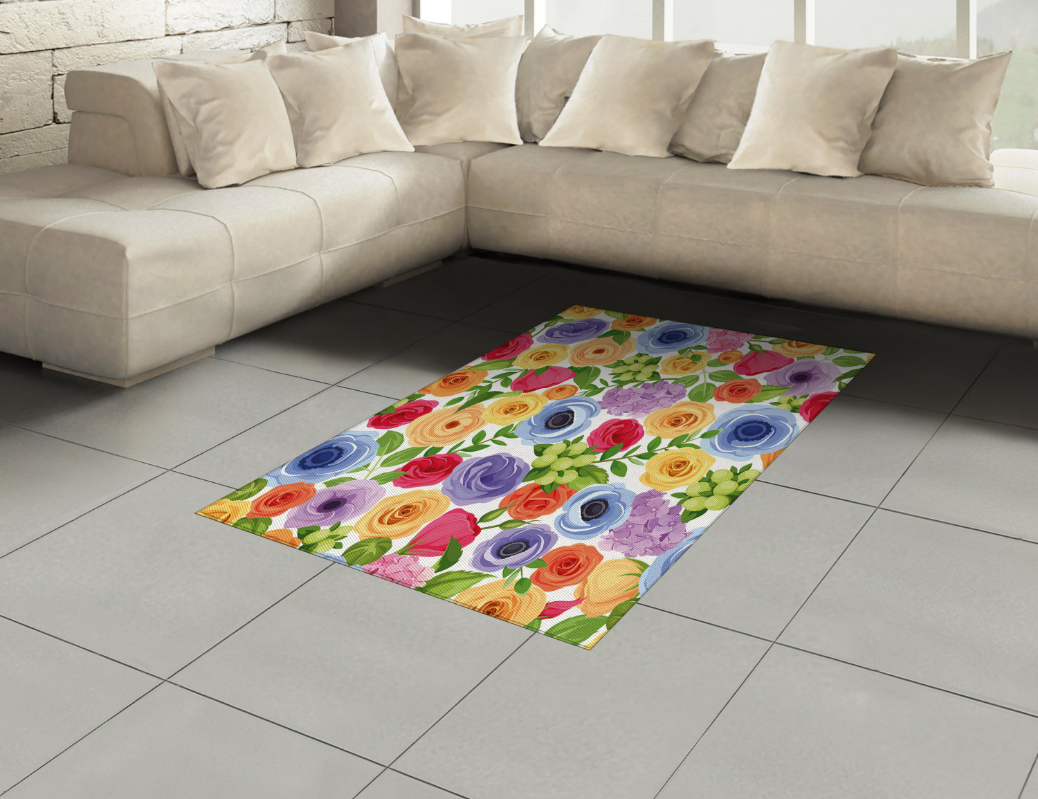 Anemone-Flower-Area-Rug-Decor-Flat-Woven-Accent-Rug-Home-Decor-2-Sizes-Ambesonne thumbnail 32