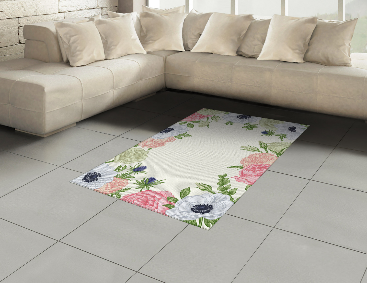 Anemone-Flower-Area-Rug-Decor-Flat-Woven-Accent-Rug-Home-Decor-2-Sizes-Ambesonne thumbnail 48