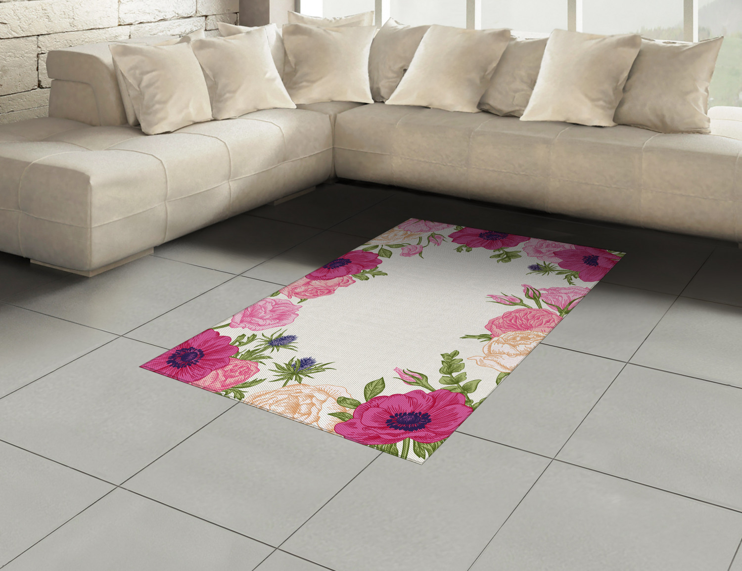 Anemone-Flower-Area-Rug-Decor-Flat-Woven-Accent-Rug-Home-Decor-2-Sizes-Ambesonne thumbnail 30
