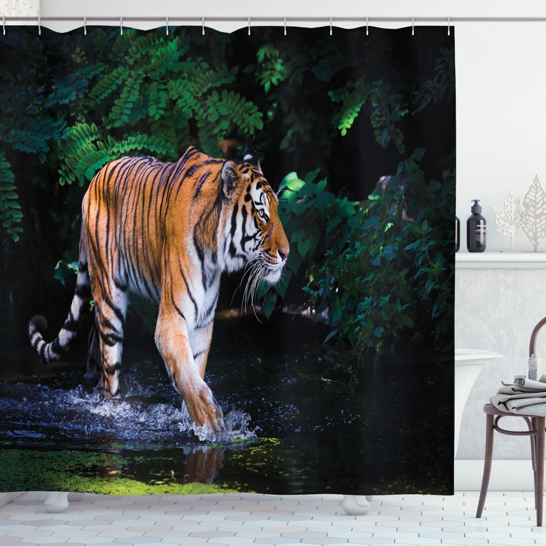 Jungle Shower Curtain Wild Tiger Jaguar Print for Bathroom