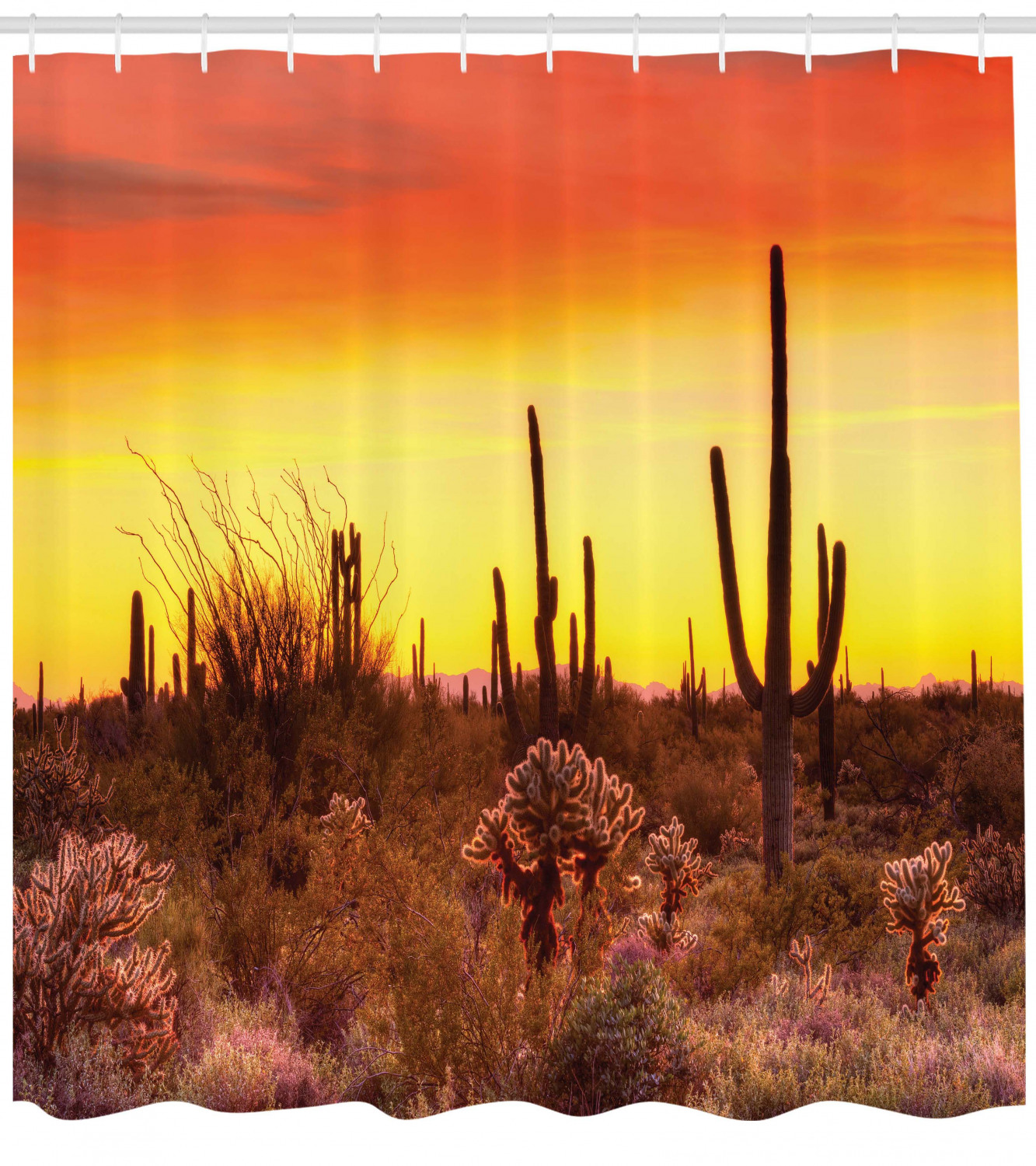 Saguaro Shower Curtain Cactus And Weeds Land Print For Bathroom 0b6136