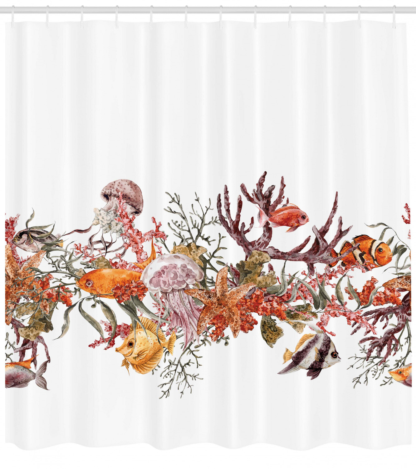 Ocean Shower Curtain Coral Algea Sealife Print For