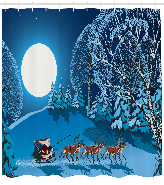 Christmas Shower Curtain Curtain Curtain Santa Winter Forest Print for Bathroom 3eaff9