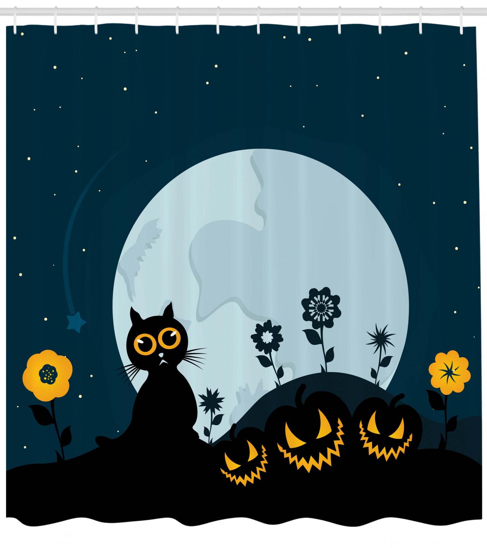 Cat Shower Curtain Kitty Under Moon Print Print Print for Bathroom 574e40