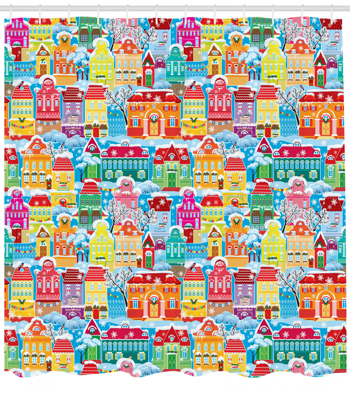 Rider Pattern Shower Curtain Fabric Decor Set with Hooks 4 Sizes Ambesonne