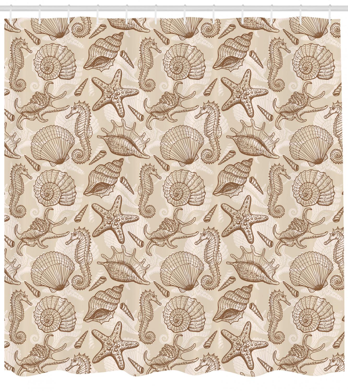 Sea Shells Shower Curtain Vintage Ocean Design Print For