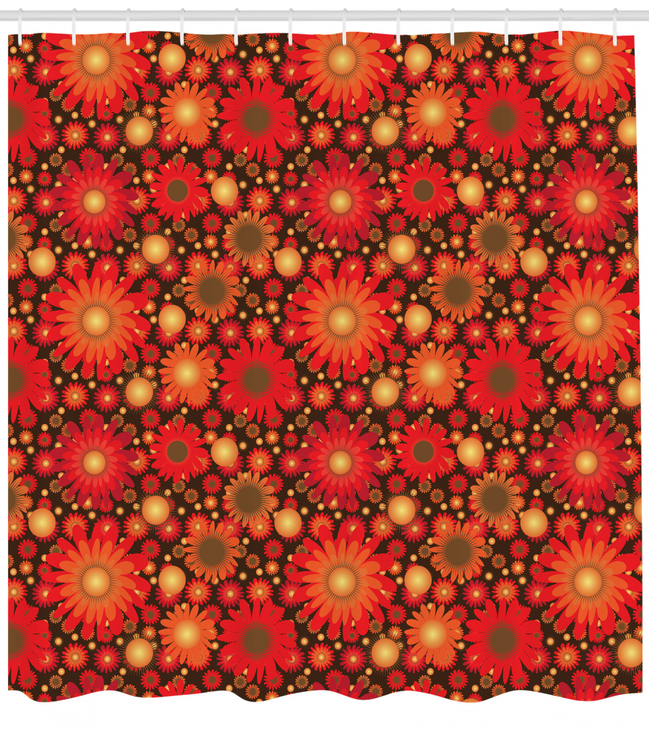 Red And Brown Shower Curtain Vivid Botanical Print For Bathroom Ebay