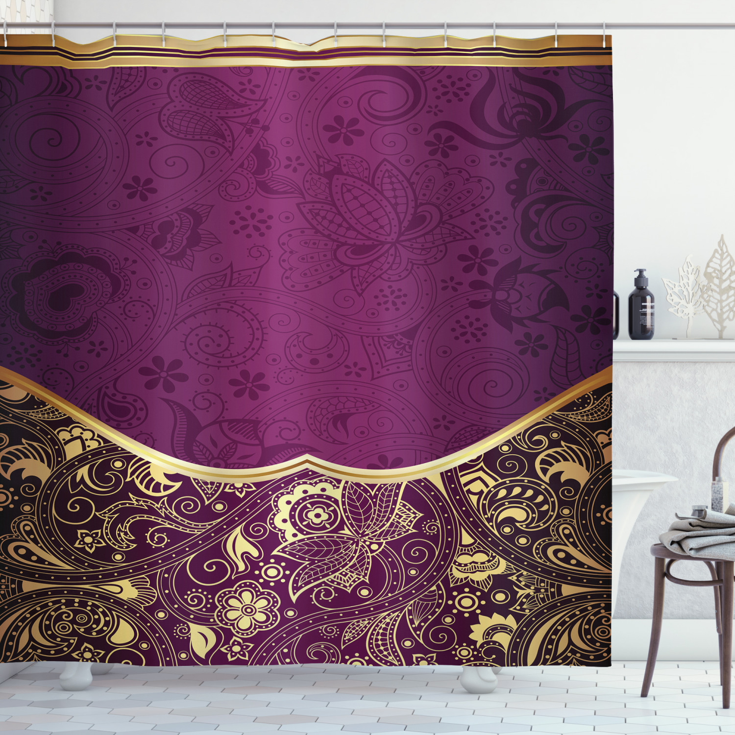 Waterproof Bath Decor Cloth Shower Curtain in 3 Sizes with Hooks Ambesonne