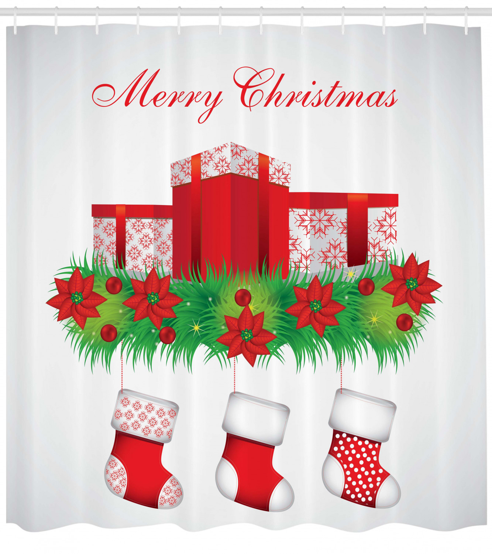 Christmas Bathroom Accessories Uk: Christmas Shower Curtain Fabric Bathroom Decor Set With