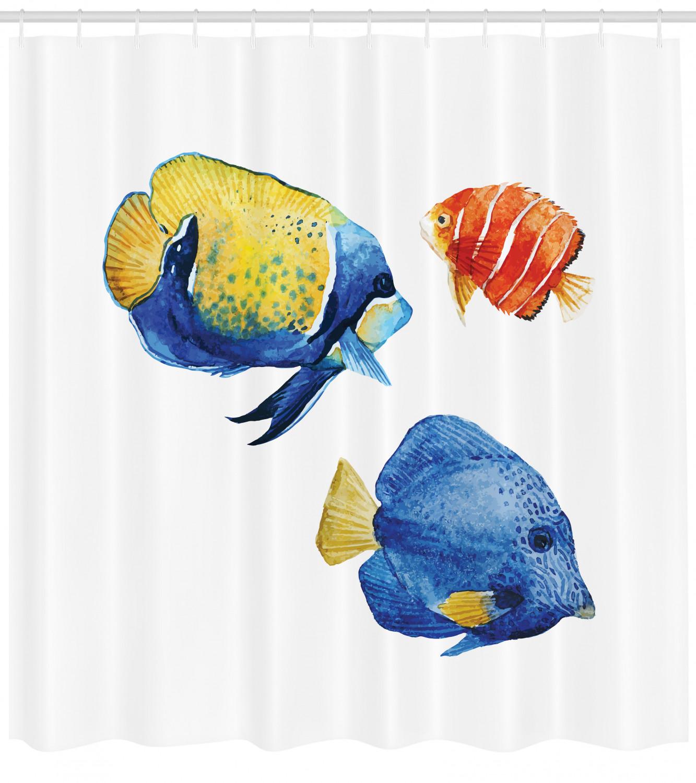Fish Pattern Shower Curtain Fabric Decor Set with Hooks 4 Sizes