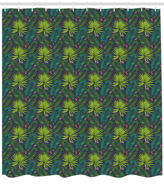 Tropical Hawaii Shower Curtain Fabric Bathroom Decor Set with Hooks 4 Sizes