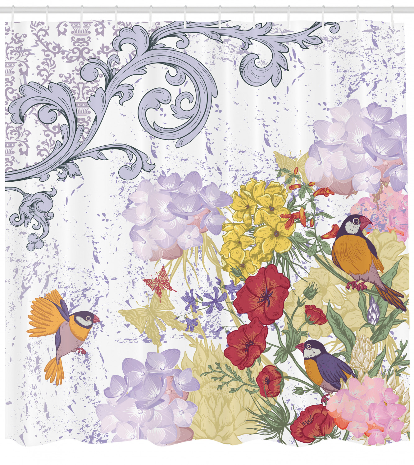 Details About Hydrangeas Decor Flower Pattern Birds French Style Vintage Batik Shower Curtain