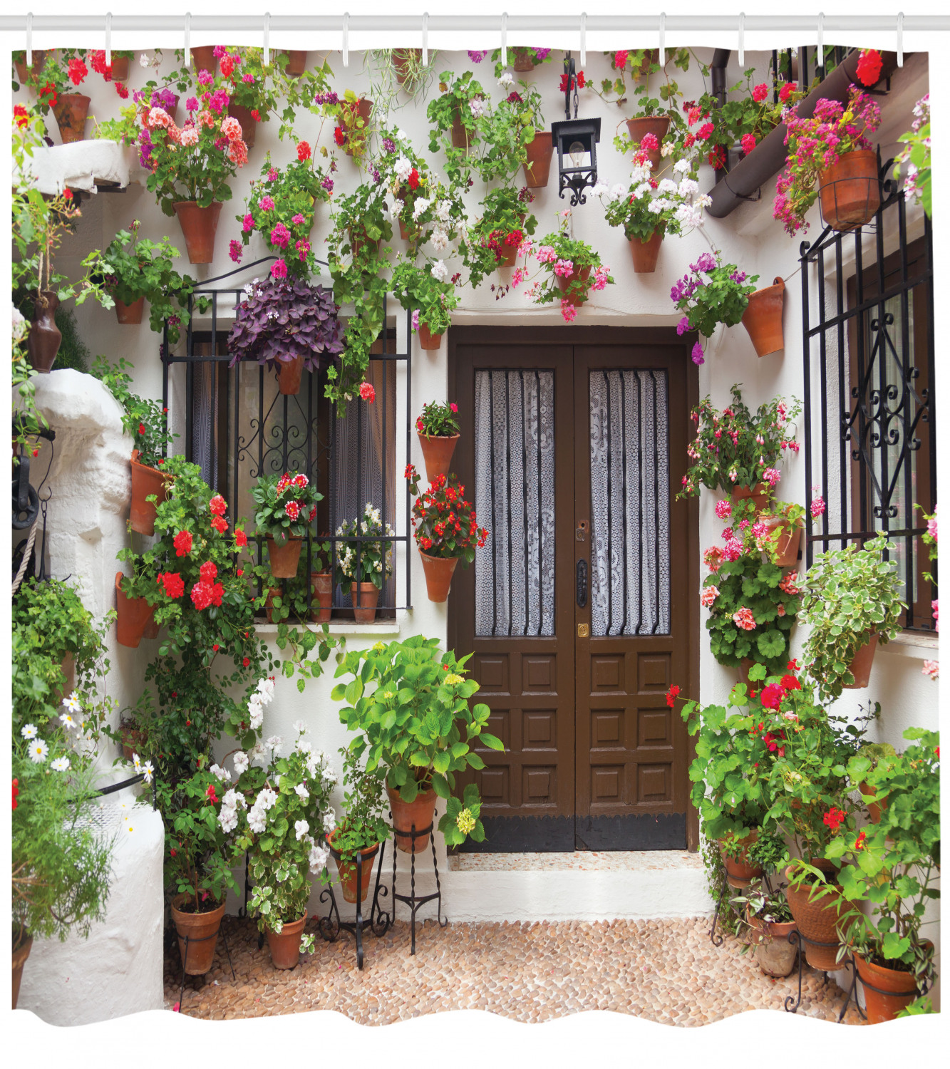Image is loading Spanish-House-Flower-Pots-Old-Mediterranean-Shower-Curtain- & Spanish House Flower Pots Old Mediterranean Shower Curtain Extra ...