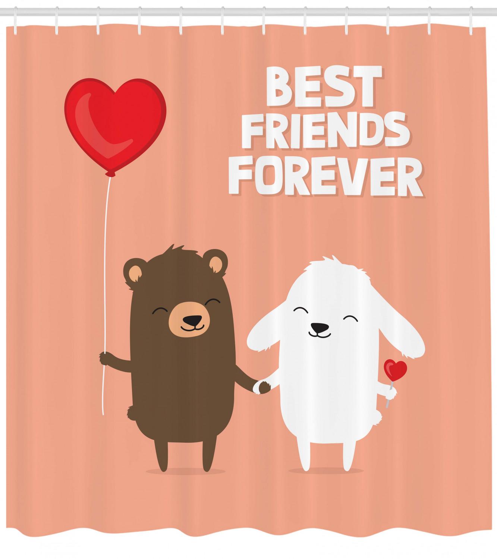 thumbnail 3 - Best Friend Shower Curtain Doodle Bear and Rabbit