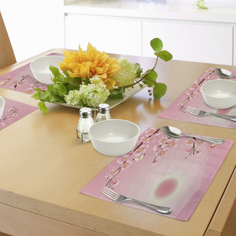 Set 4 Indonesia Batik Flowers Dining Table Mat,Table Decor,Table Mats,Flowers Placemat. Kitchen Placemats