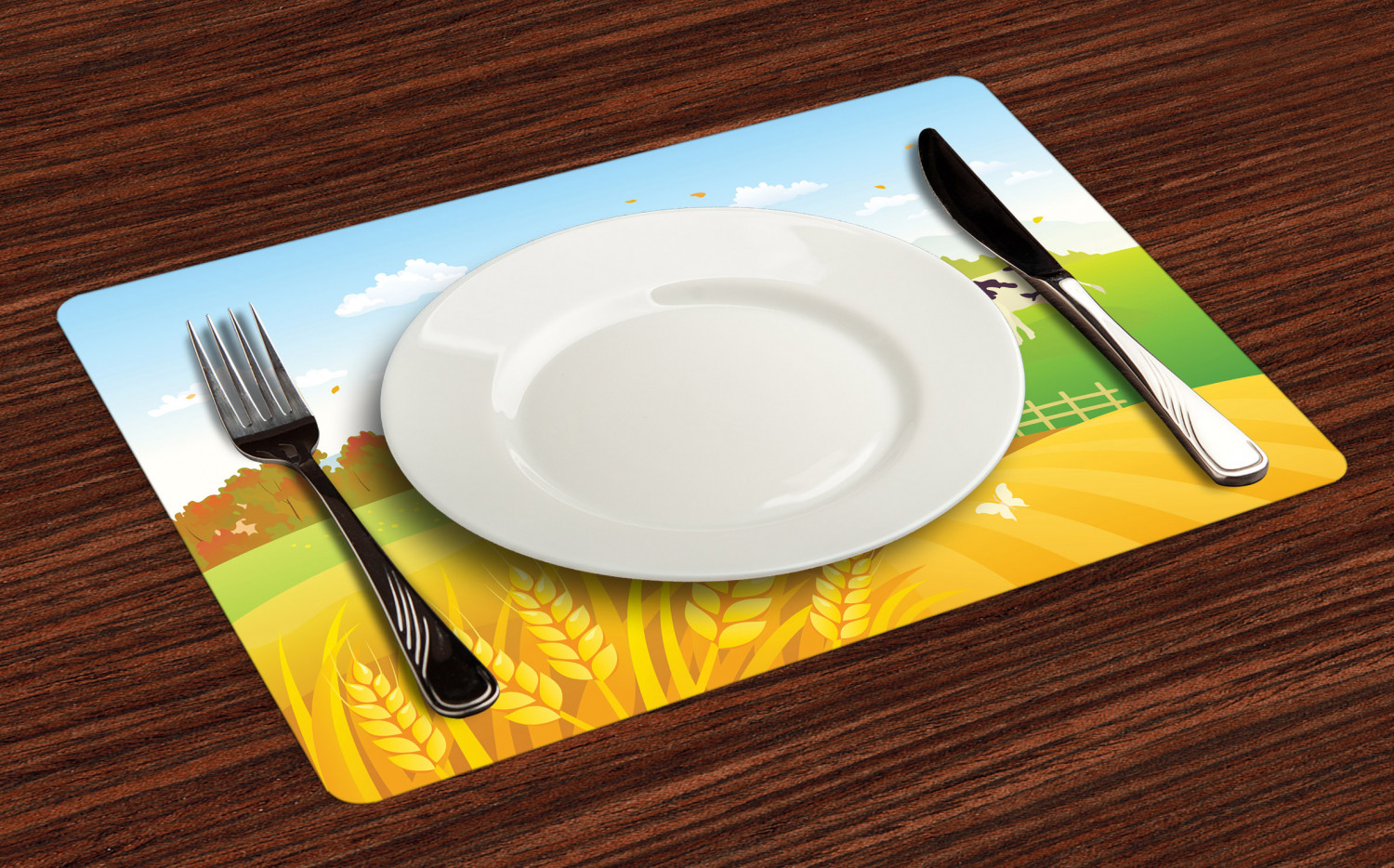 Ambesonne-Fabric-Place-Mats-Set-of-4-Placemats-for-Dining-Room-and-Kitchen-Table thumbnail 45