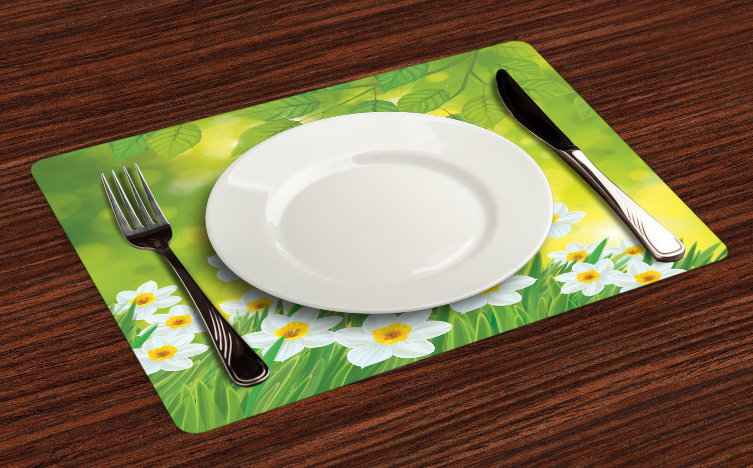 Ambesonne-Flower-Pattern-Placemat-Set-of-4-Fabric-Place-Mats-for-Table-Decor thumbnail 73