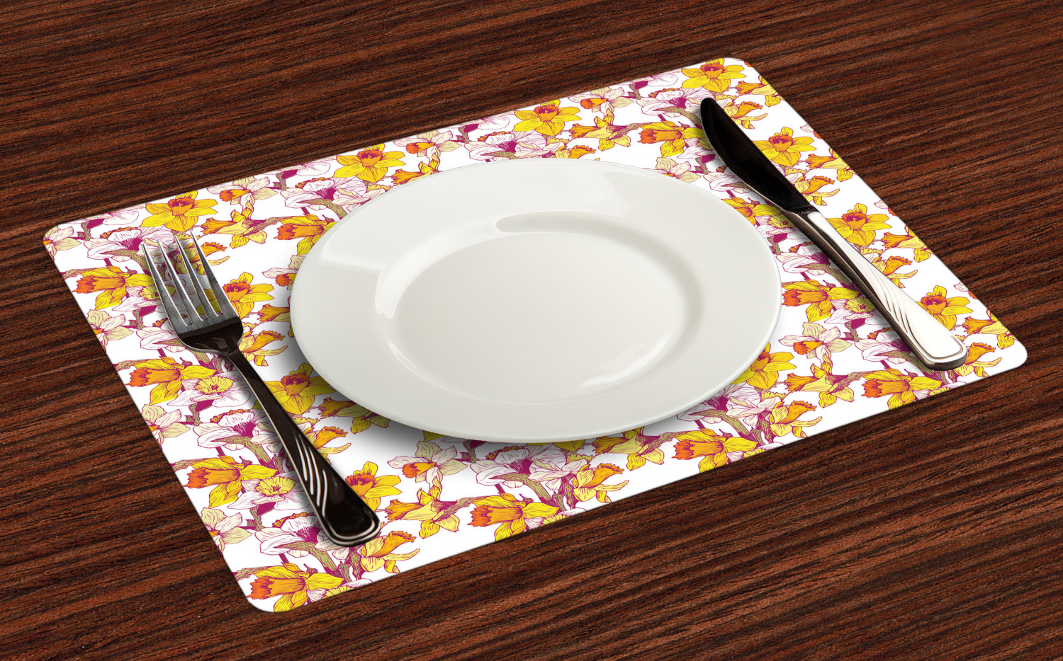 Ambesonne-Flower-Pattern-Placemat-Set-of-4-Fabric-Place-Mats-for-Table-Decor thumbnail 113