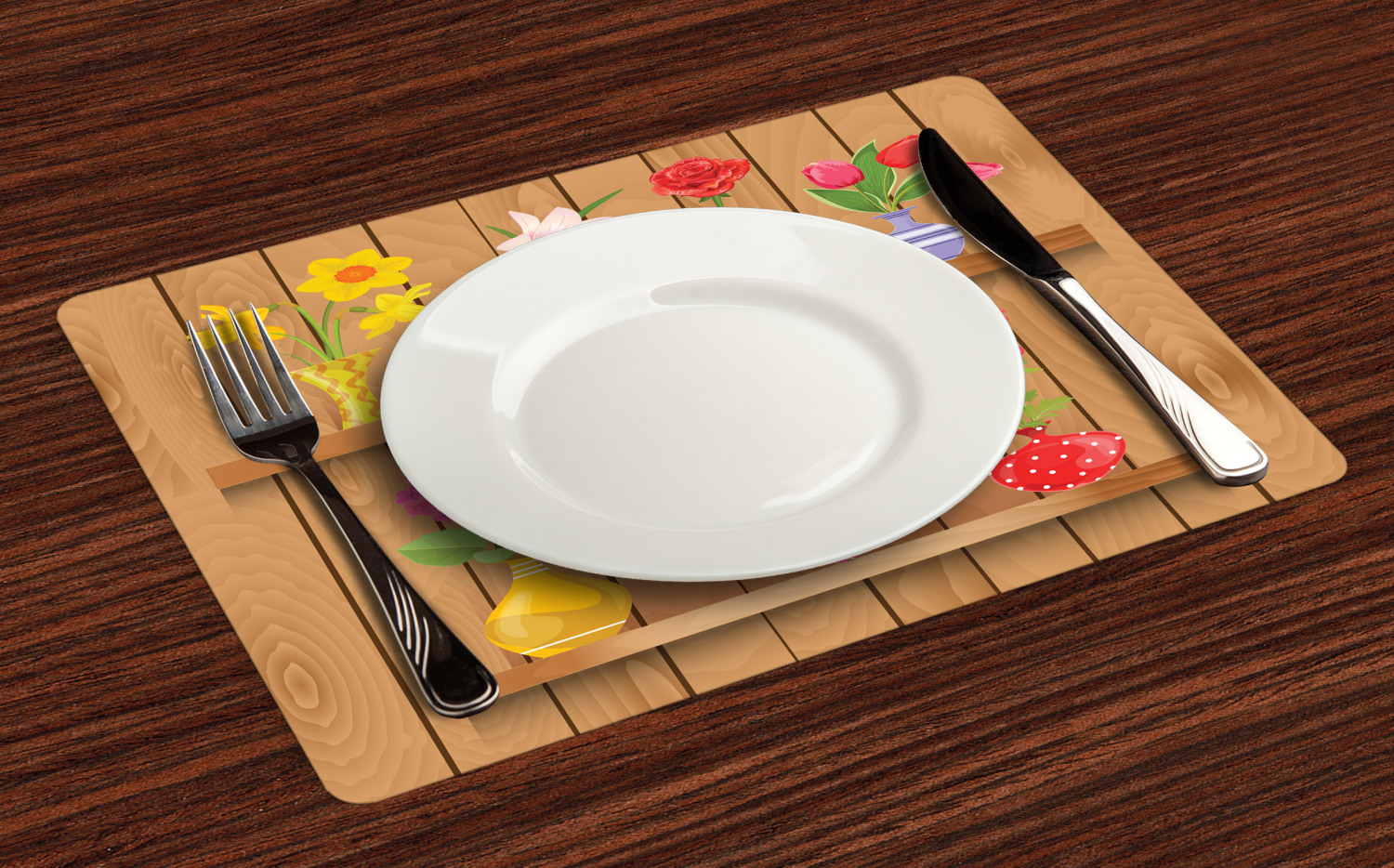 Ambesonne-Flower-Pattern-Placemat-Set-of-4-Fabric-Place-Mats-for-Table-Decor thumbnail 61