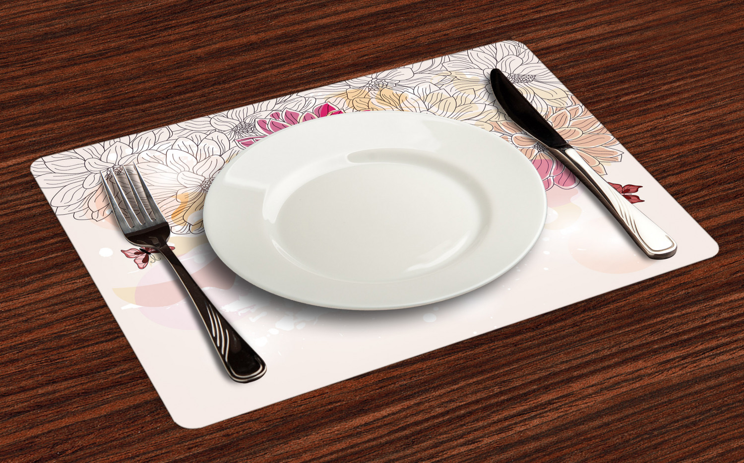Ambesonne-Flower-Pattern-Placemat-Set-of-4-Fabric-Place-Mats-for-Table-Decor thumbnail 213