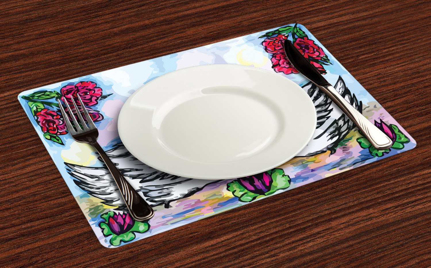 Ambesonne-Flower-Pattern-Placemat-Set-of-4-Fabric-Place-Mats-for-Table-Decor thumbnail 5