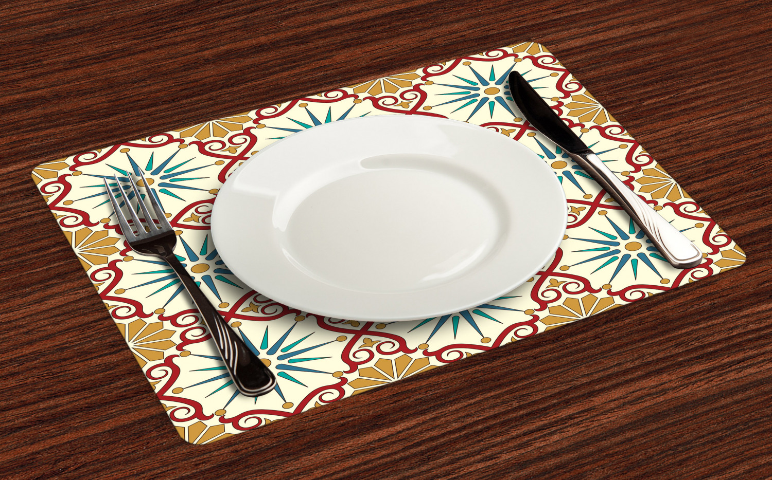 Moroccan Placemats Set Of 4 By Ambesonne Washable Fabric