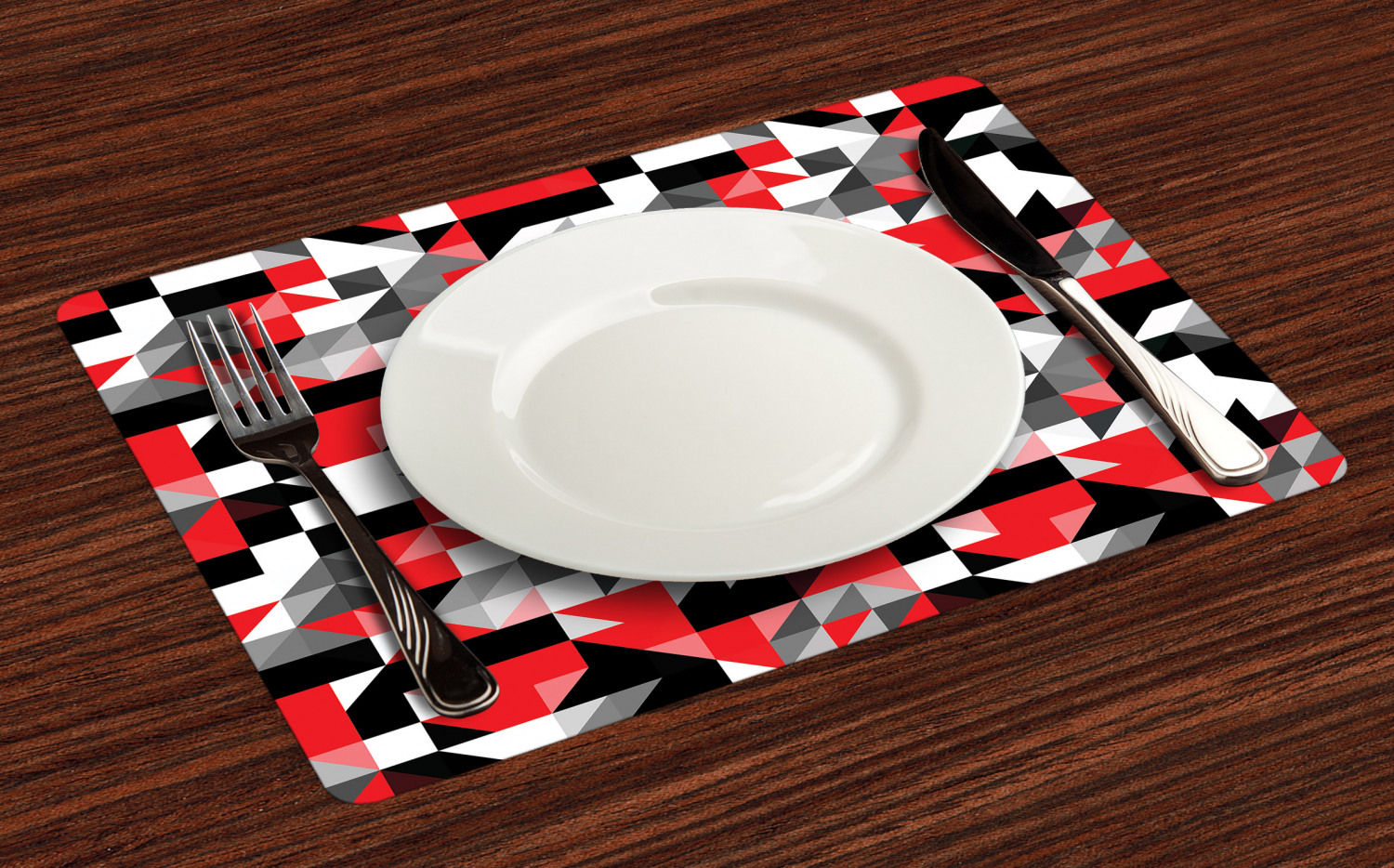 Red-Black-Placemats-Set-of-4-Half-Triangles-Square-Print-Fabric-Table-Mats thumbnail 2
