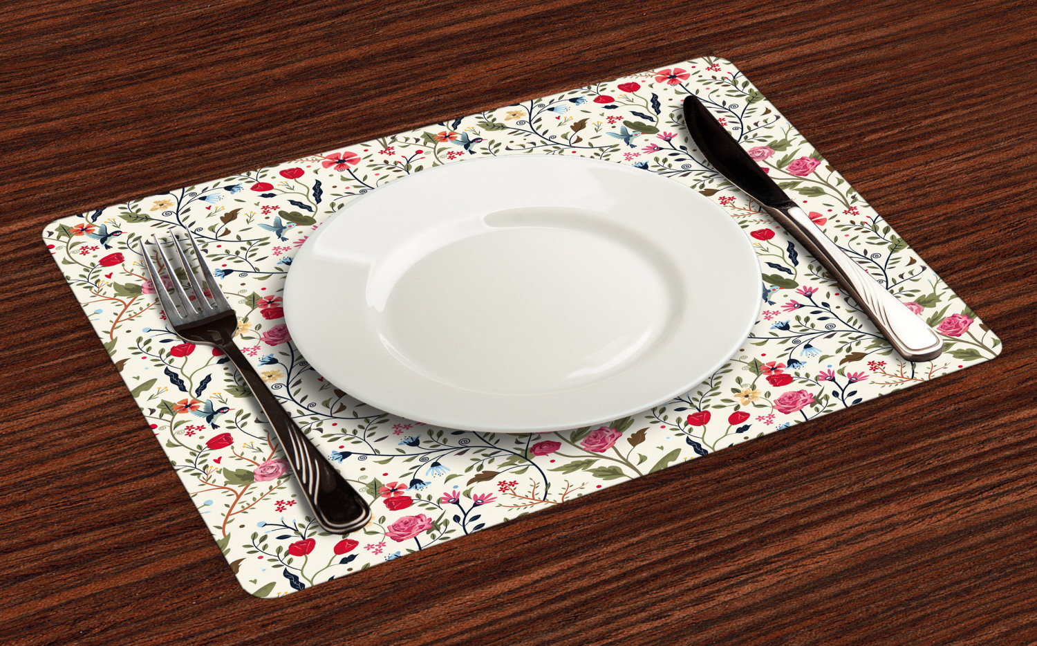 Ambesonne-Flower-Pattern-Placemat-Set-of-4-Fabric-Place-Mats-for-Table-Decor thumbnail 33