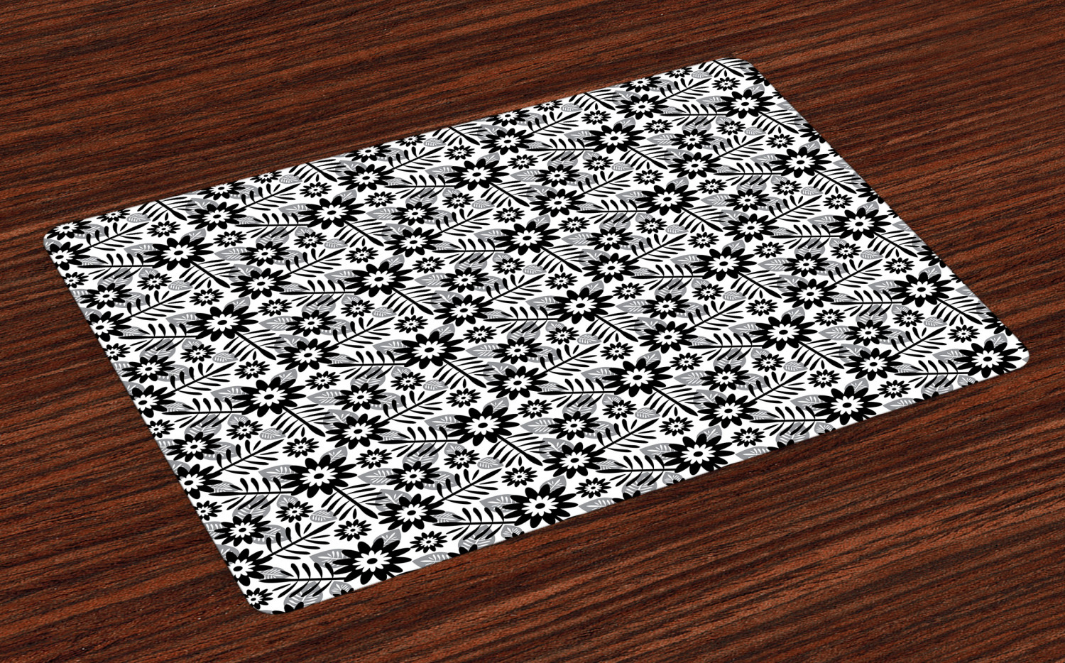 black and white placemats set of 4 washable fabric place mats for table decor ebay. Black Bedroom Furniture Sets. Home Design Ideas