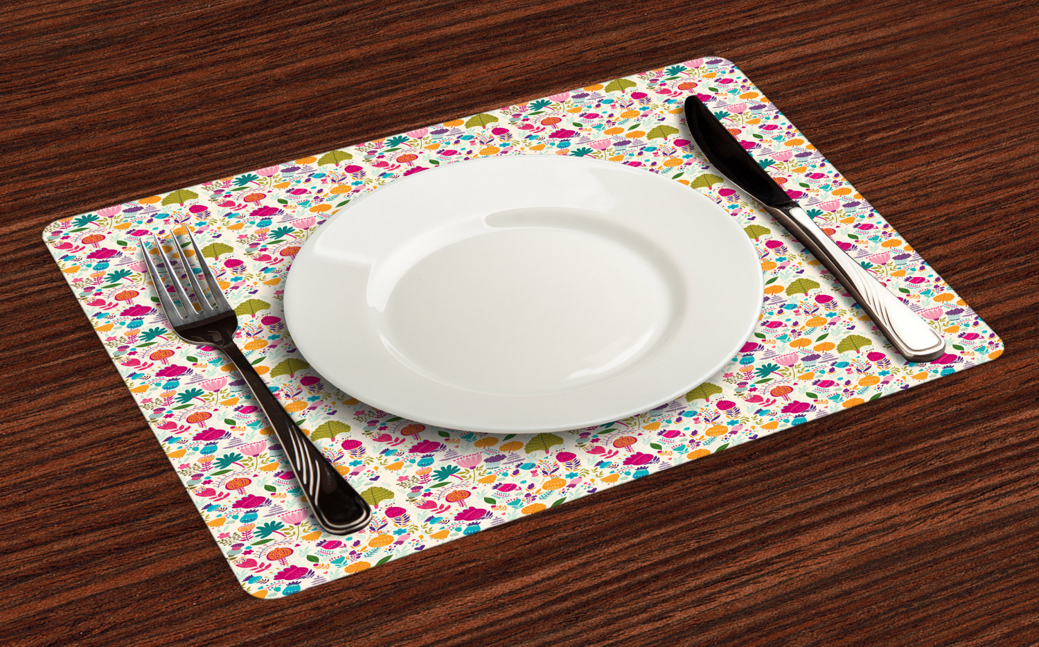 Ambesonne-Flower-Pattern-Placemat-Set-of-4-Fabric-Place-Mats-for-Table-Decor thumbnail 161