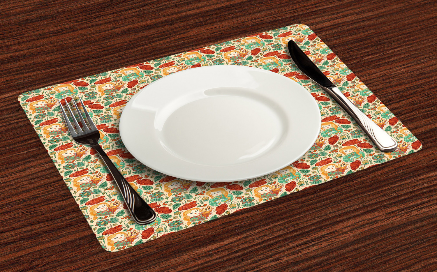 Ambesonne-Flower-Pattern-Placemat-Set-of-4-Fabric-Place-Mats-for-Table-Decor thumbnail 121