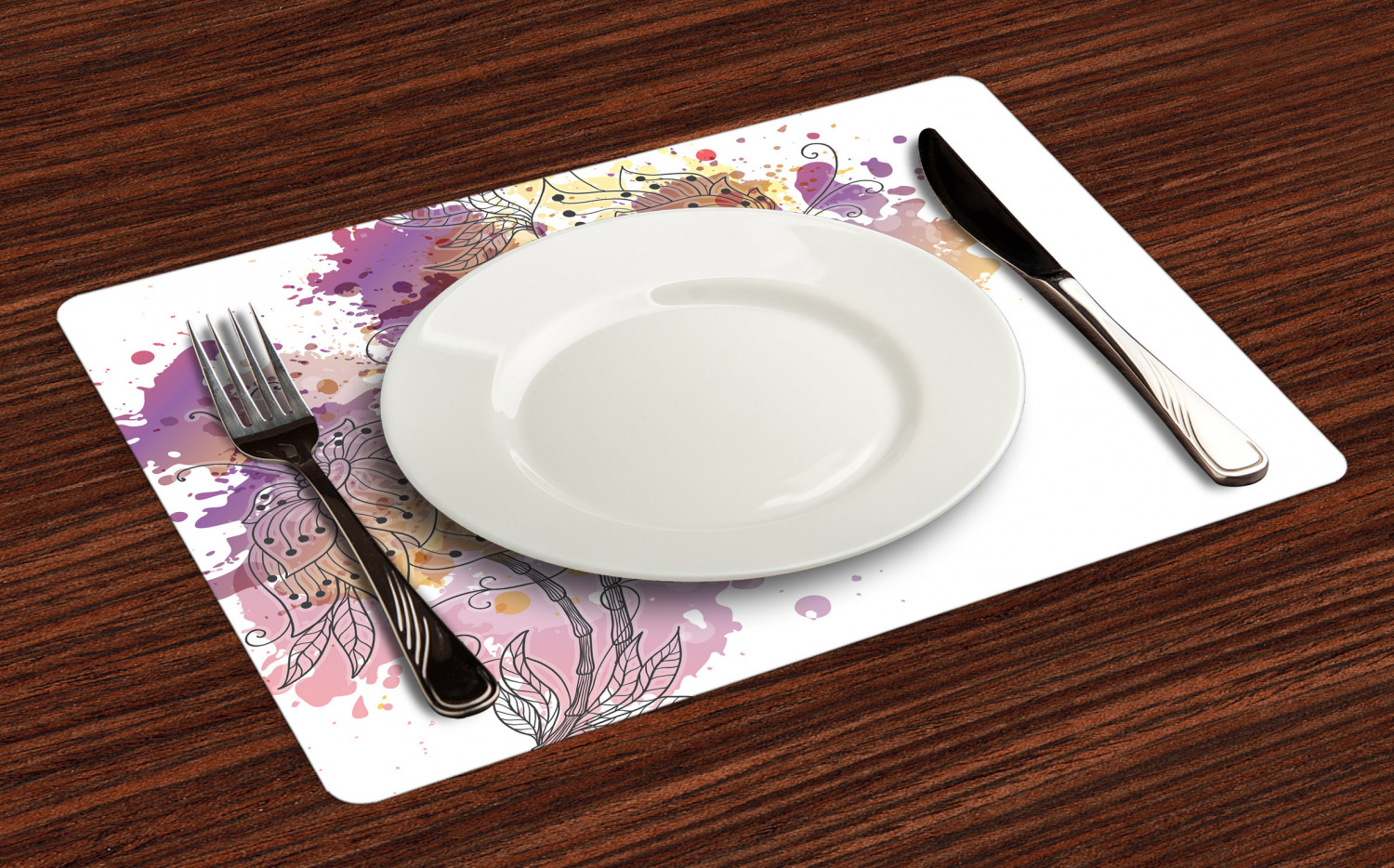 Ambesonne-Flower-Pattern-Placemat-Set-of-4-Fabric-Place-Mats-for-Table-Decor thumbnail 109
