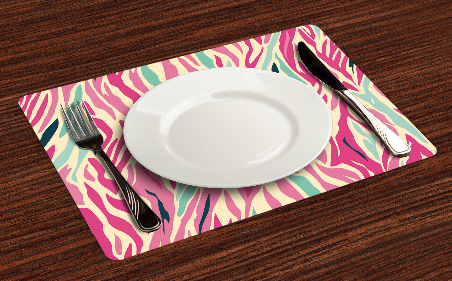 Pink Zebra Placemats Set Of 4 By Ambesonne Washable Fabric Place Mats Ebay