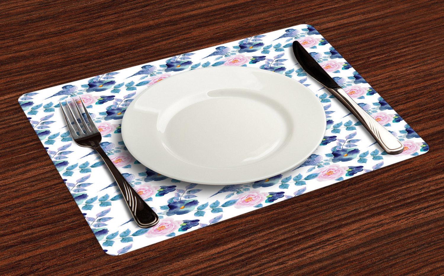 Ambesonne-Flower-Pattern-Placemat-Set-of-4-Fabric-Place-Mats-for-Table-Decor thumbnail 29