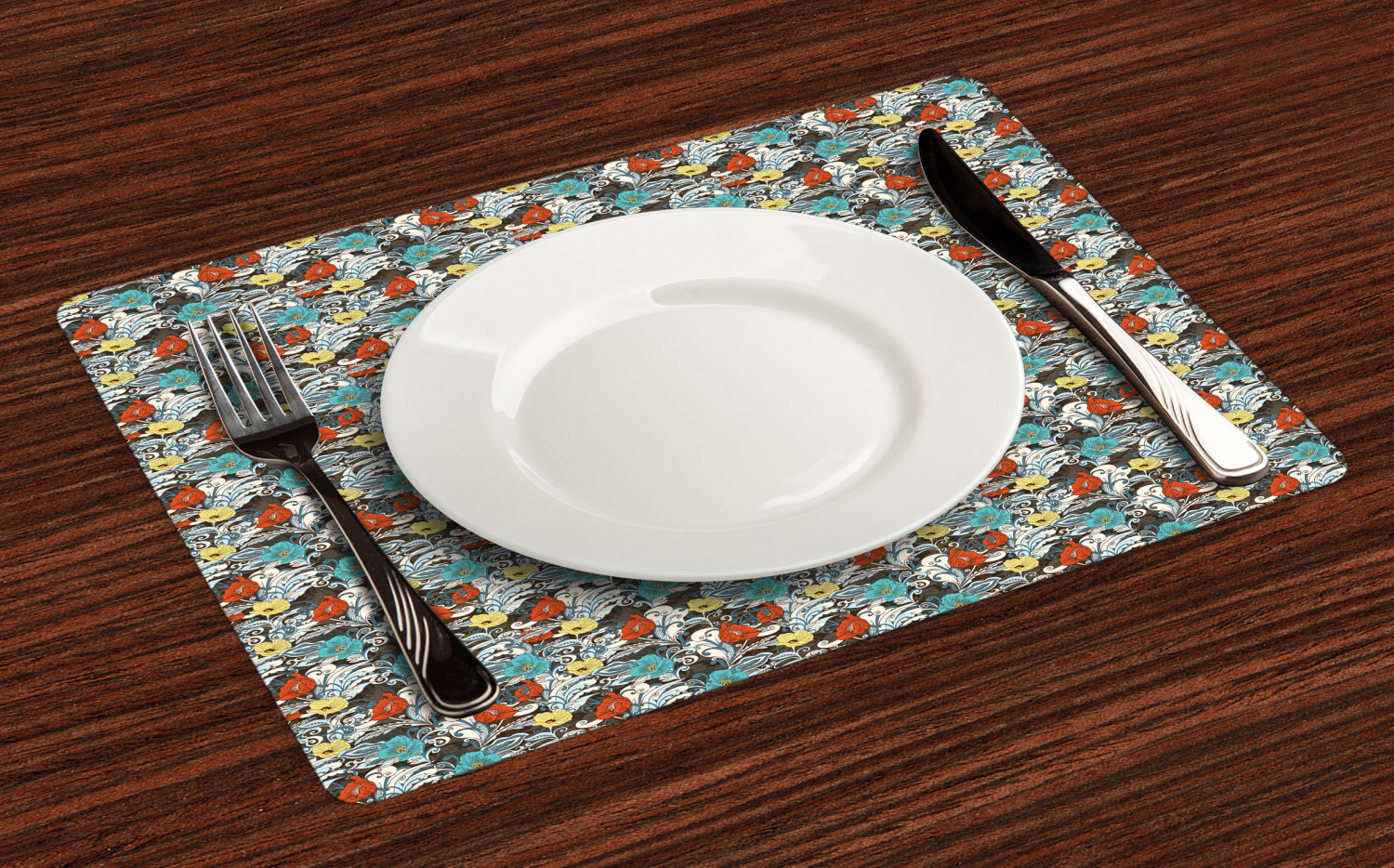 Ambesonne-Flower-Pattern-Placemat-Set-of-4-Fabric-Place-Mats-for-Table-Decor thumbnail 105