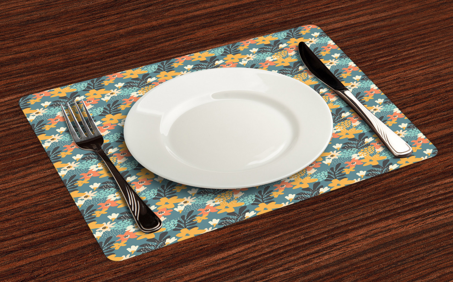 Ambesonne-Flower-Pattern-Placemat-Set-of-4-Fabric-Place-Mats-for-Table-Decor thumbnail 17