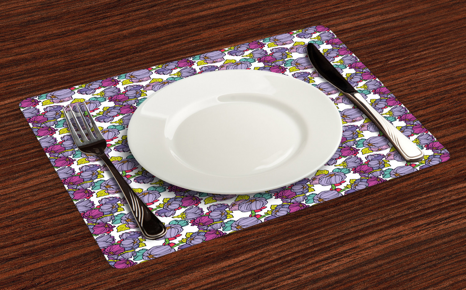 Ambesonne-Flower-Pattern-Placemat-Set-of-4-Fabric-Place-Mats-for-Table-Decor thumbnail 229