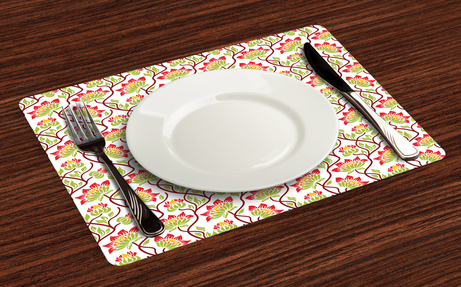 Ambesonne-Flower-Pattern-Placemat-Set-of-4-Fabric-Place-Mats-for-Table-Decor thumbnail 13
