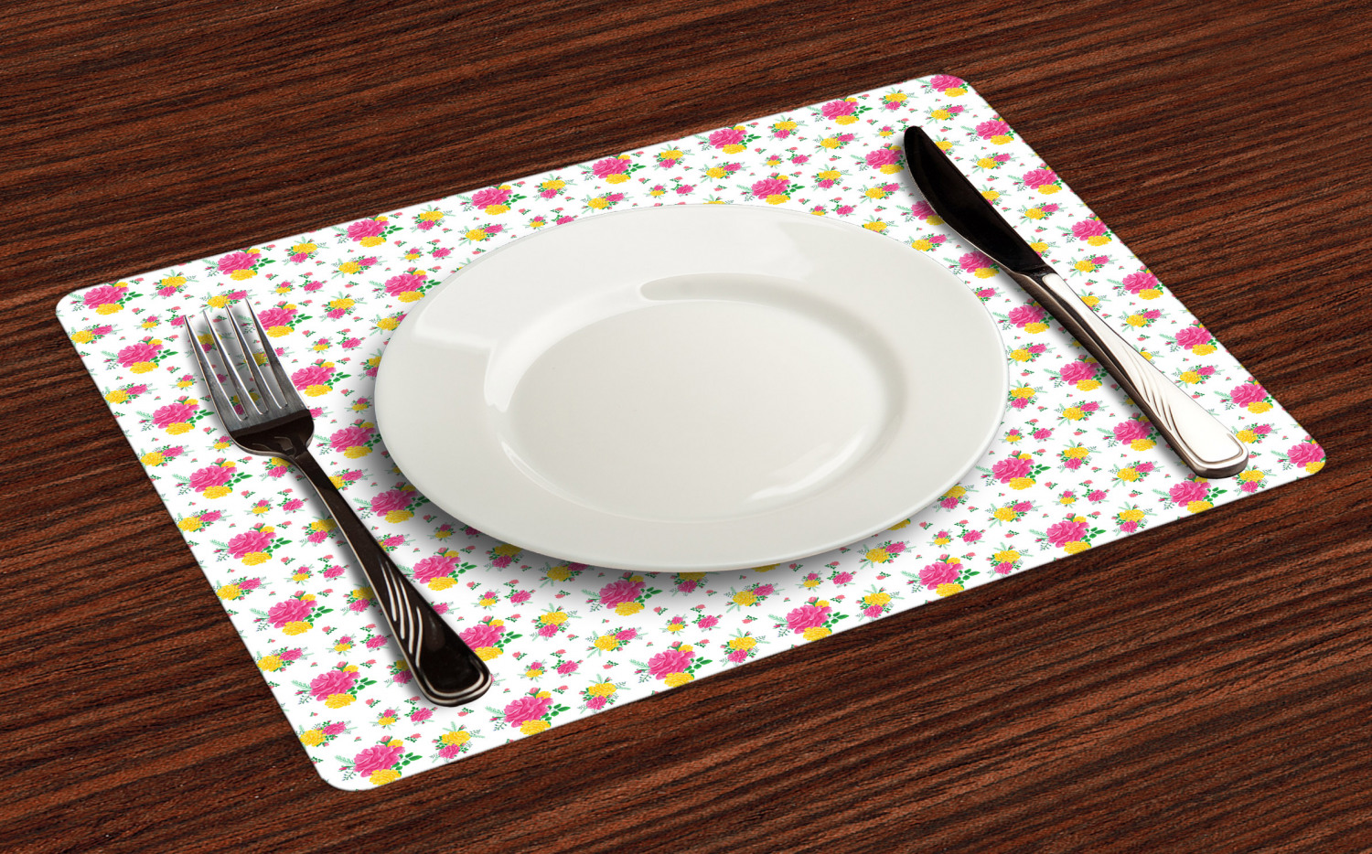 Ambesonne-Flower-Pattern-Placemat-Set-of-4-Fabric-Place-Mats-for-Table-Decor thumbnail 145