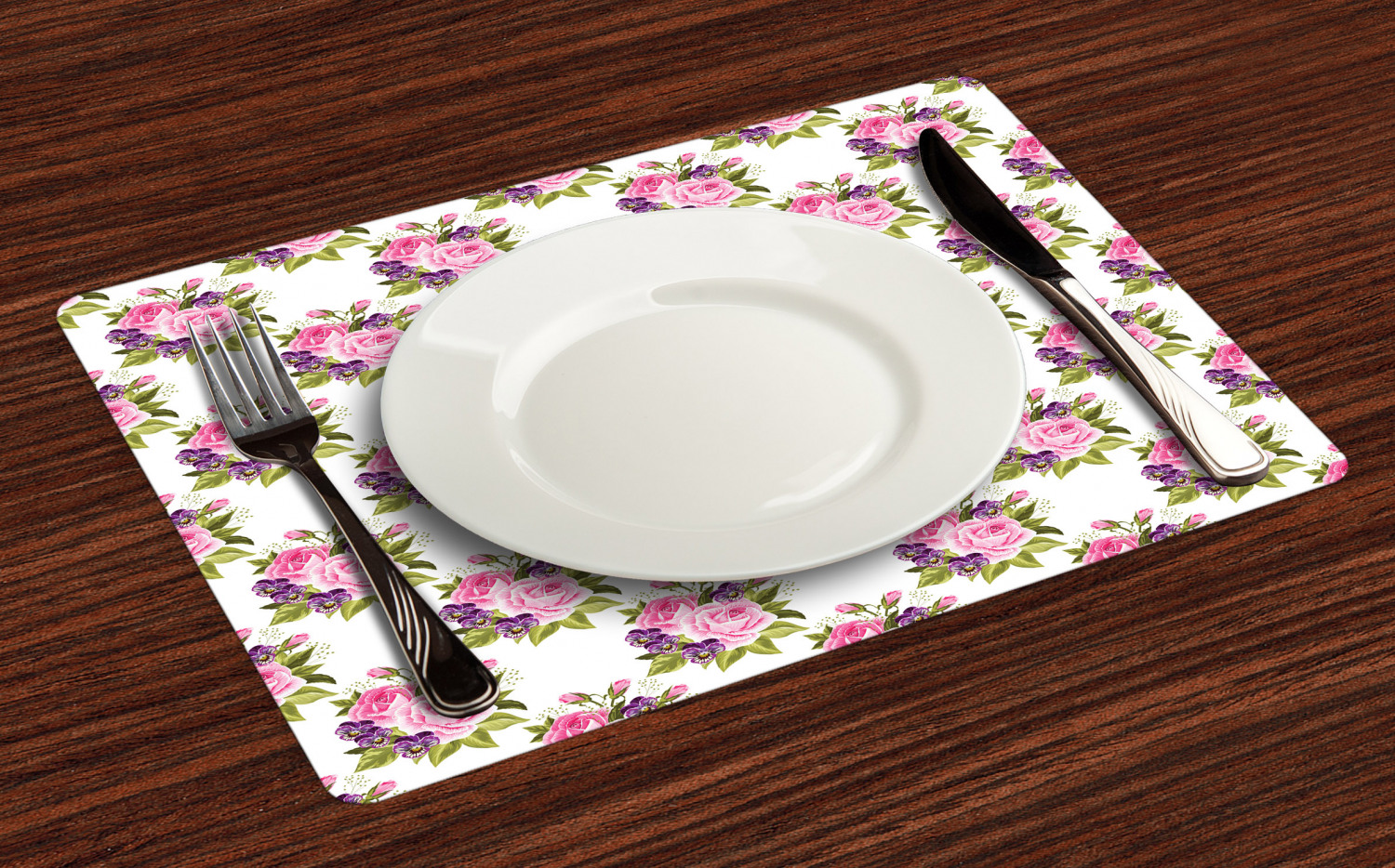 Ambesonne-Flower-Pattern-Placemat-Set-of-4-Fabric-Place-Mats-for-Table-Decor thumbnail 57
