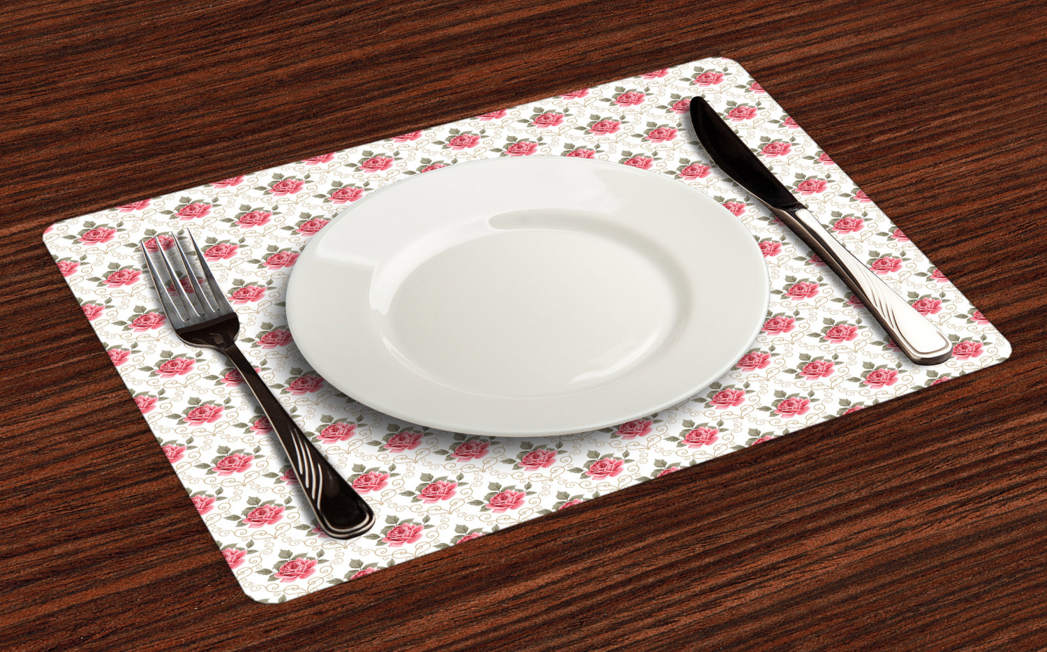 Ambesonne-Flower-Pattern-Placemat-Set-of-4-Fabric-Place-Mats-for-Table-Decor thumbnail 77