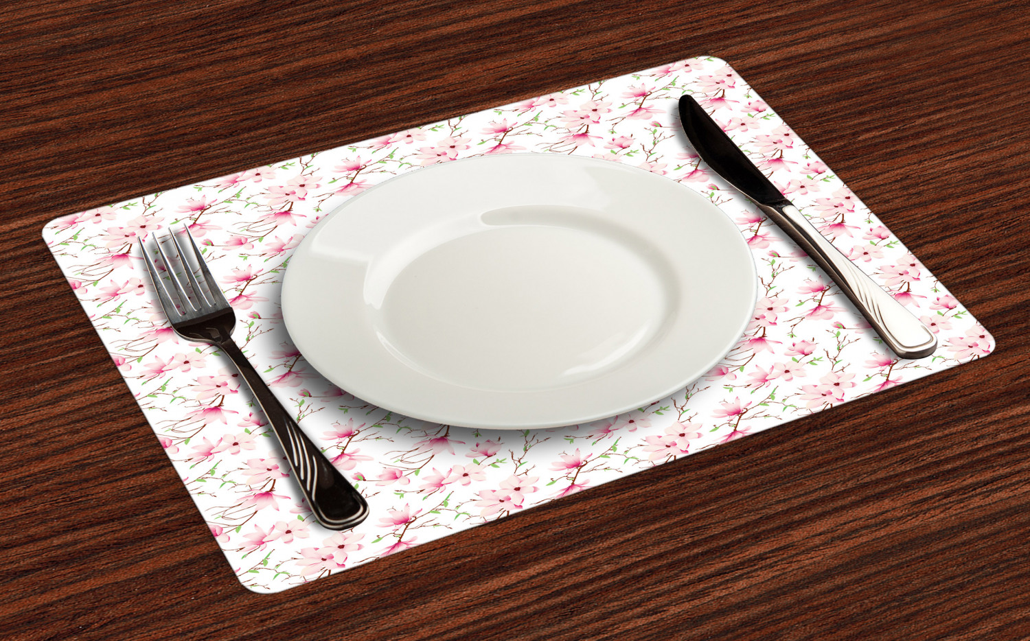 Ambesonne-Flower-Pattern-Placemat-Set-of-4-Fabric-Place-Mats-for-Table-Decor thumbnail 9