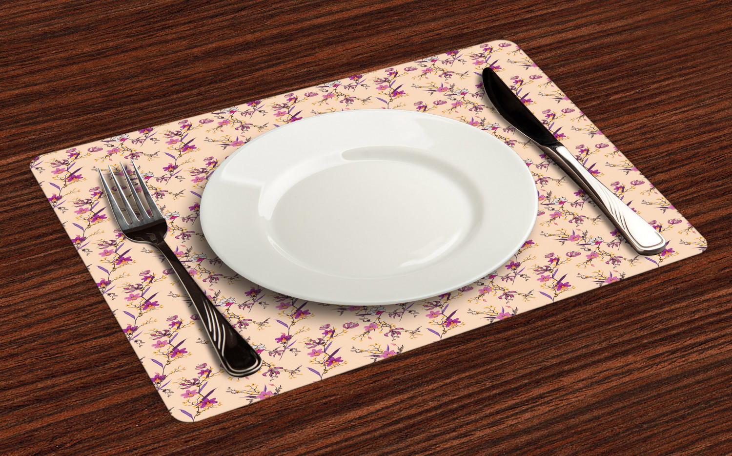 Ambesonne-Flower-Pattern-Placemat-Set-of-4-Fabric-Place-Mats-for-Table-Decor thumbnail 81