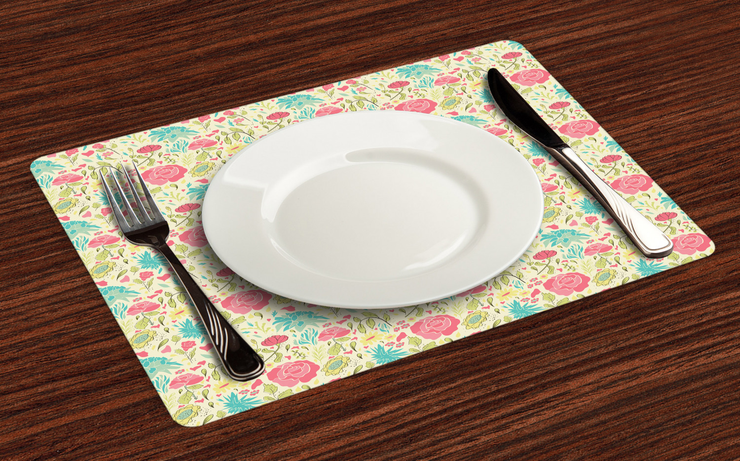 Ambesonne-Flower-Pattern-Placemat-Set-of-4-Fabric-Place-Mats-for-Table-Decor thumbnail 41