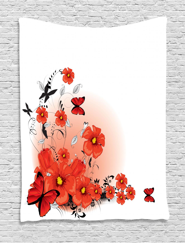 Flower Tapestry Cartoon Poppy Fresh Art Print Wall Hanging Decor Ebay