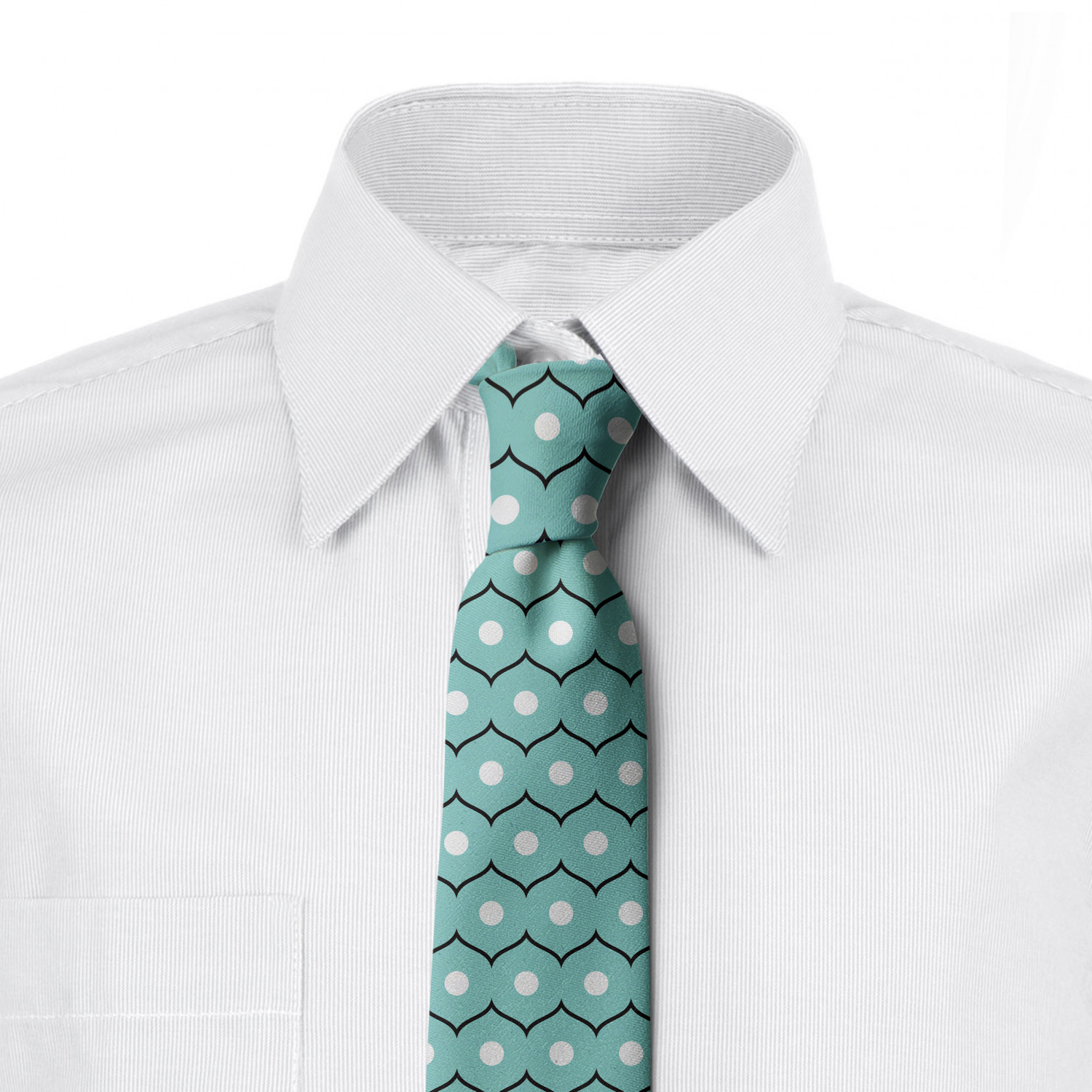 3.7 Ambesonne Mens Tie Night Blue and White Dotted Sea Wave Motif Art